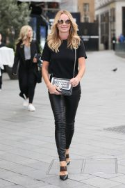 Amanda Holden in Leather Pants - Arriving at Global studios in London