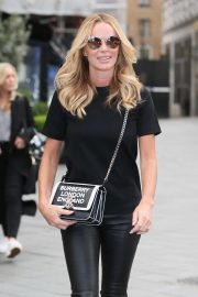 Amanda Holden in Leather Pants at Global Studios in London