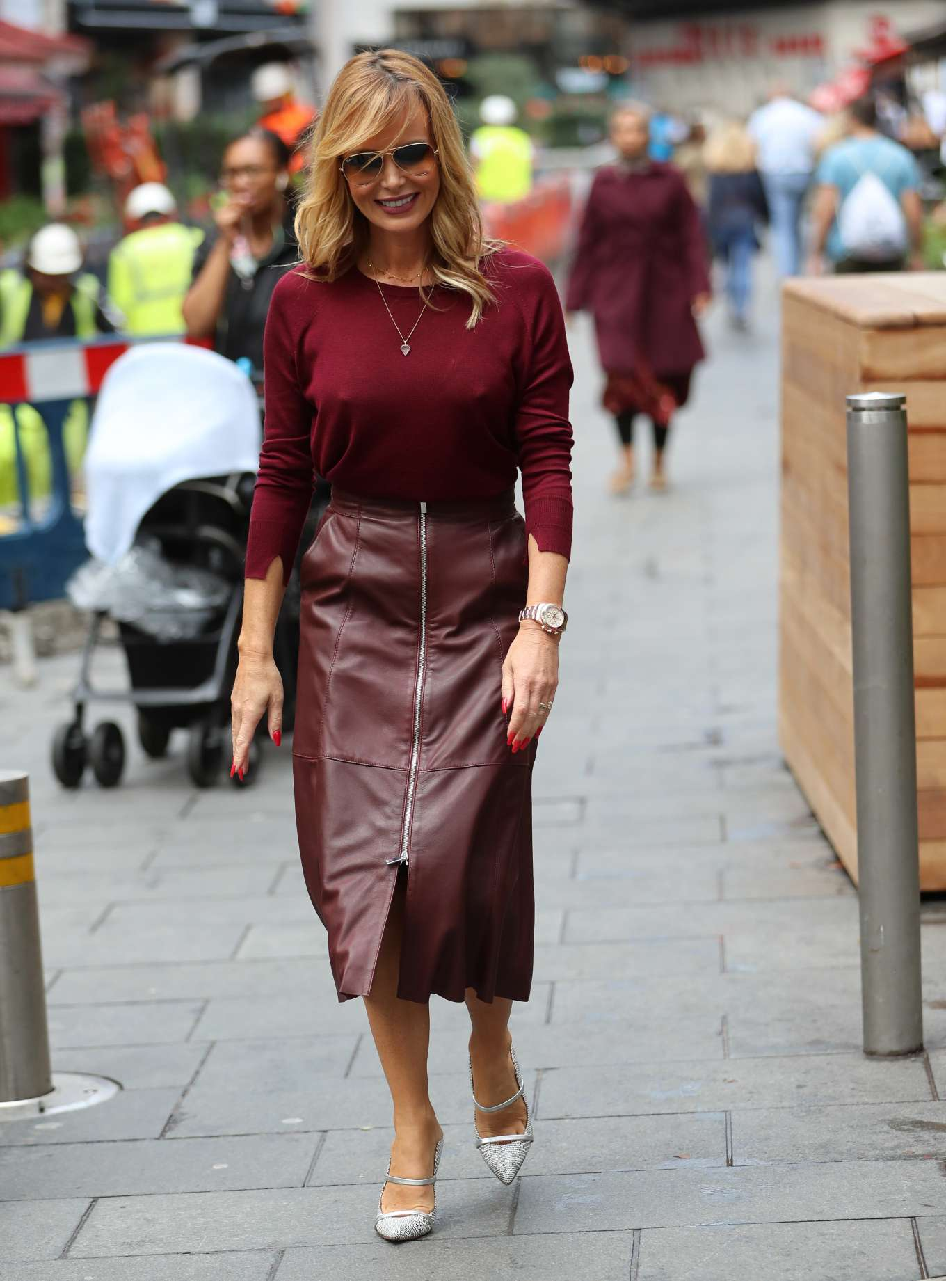 Amanda Holden in Leather Skirt - Arrives at Heart Radio in London