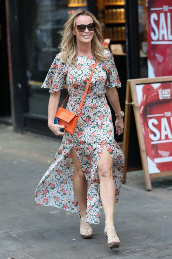Amanda Holden in Long Floral Dress - Exits Heart breakfast Show in London