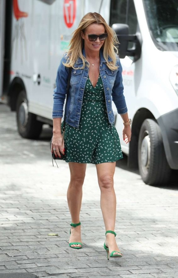 Amanda Holden in Mini Dress Exits Heart Radio in London