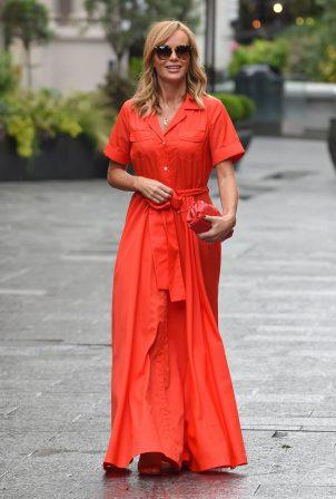 Amanda Holden - In Orange dress at Global Studios in London