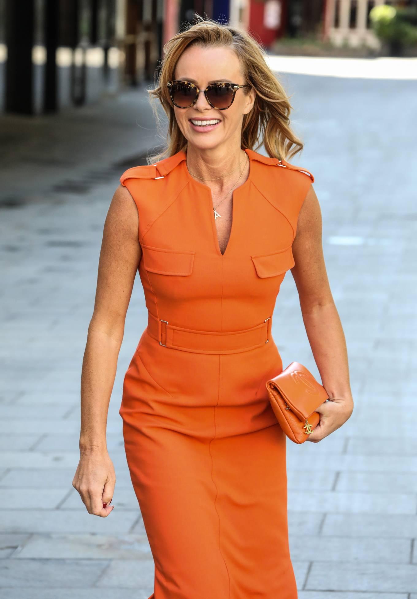 Amanda Holden in Orange Dress - Leaving Global Radio Studios in London