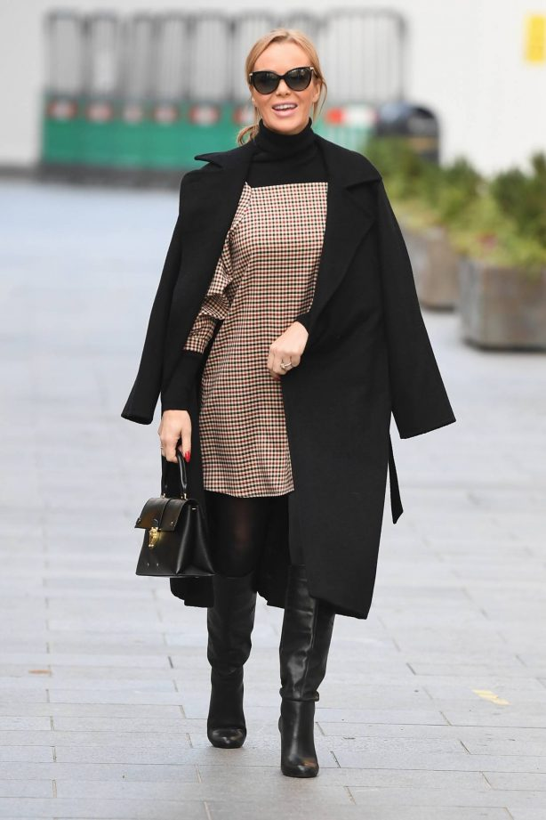 Amanda Holden - In patterned dress and boots in London