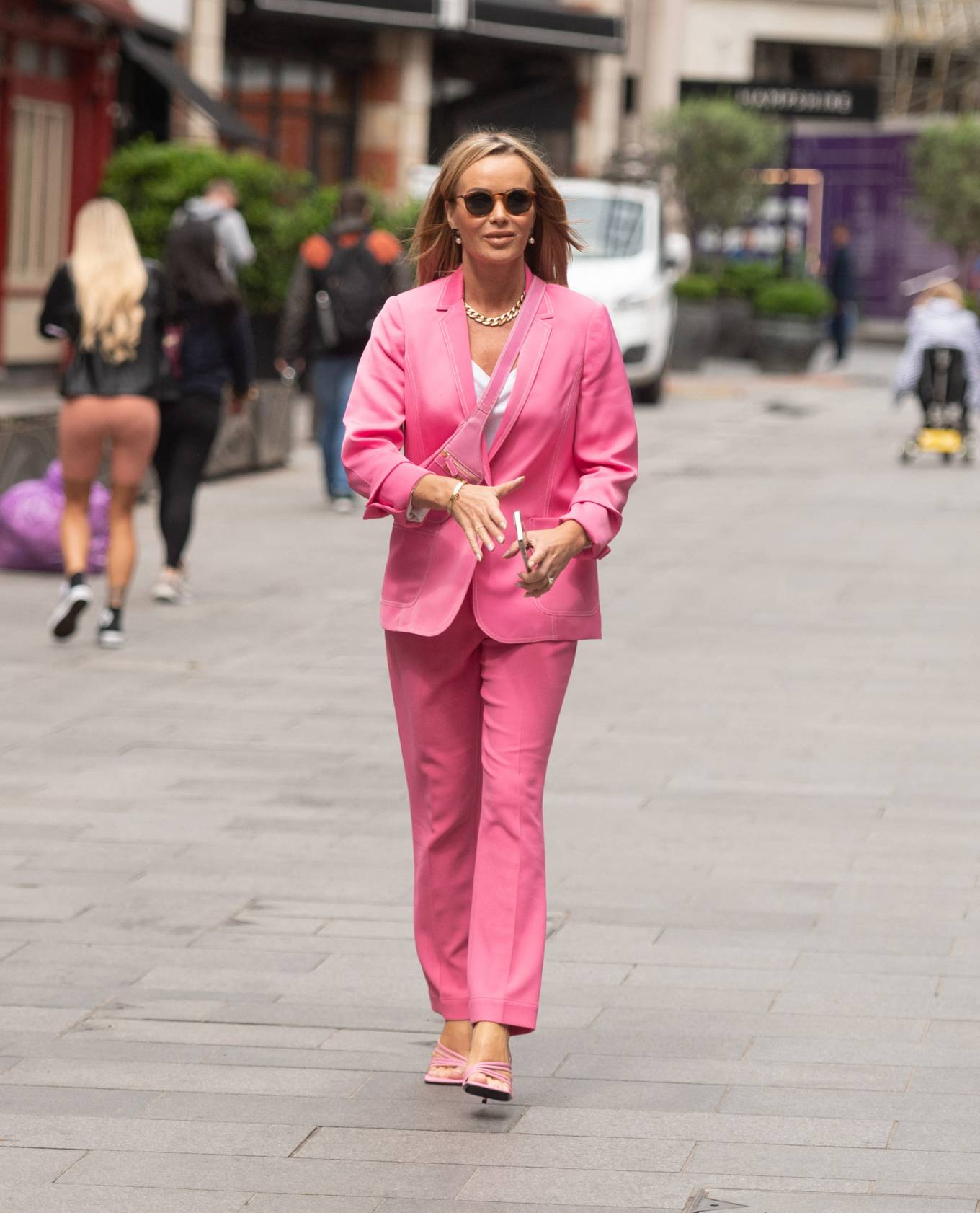 Amanda Holden - In pink seen at Global Radio in London