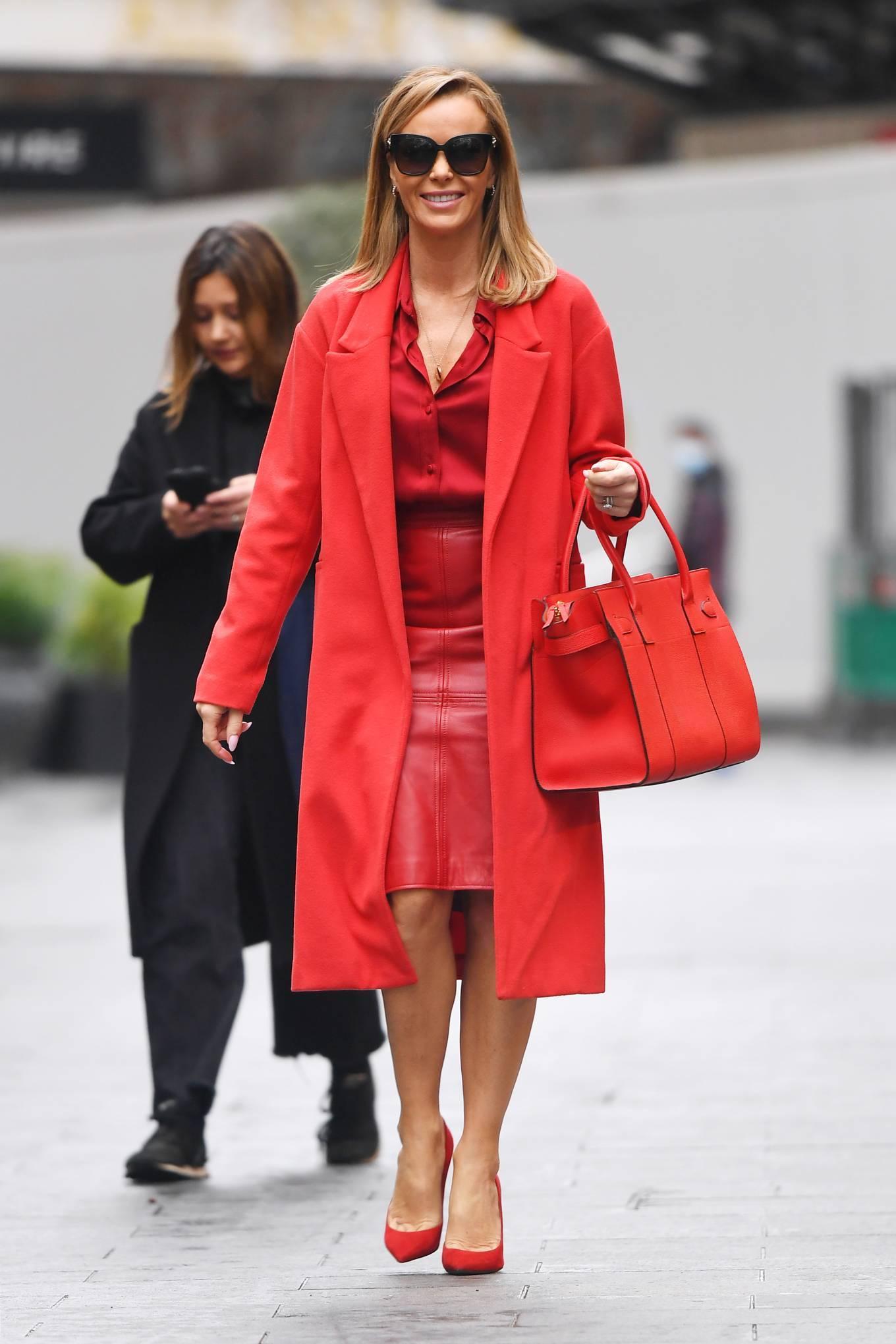 Amanda Holden - In red At Global Radio in London