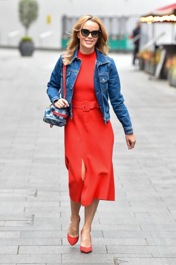Amanda Holden - In red dress and denim jacket seen after the Heart Breakfast show in London