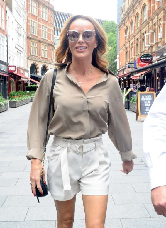 Amanda Holden in Shorts - Exits Heart Radio in London
