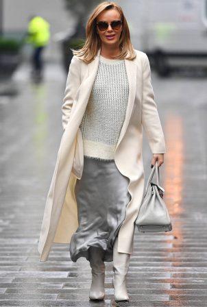 Amanda Holden - In Silver skirt leaving Global Studios Heart FM in London
