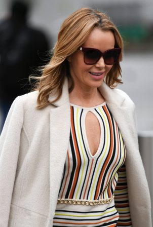 Amanda Holden - In striped dress and knee high boots in London