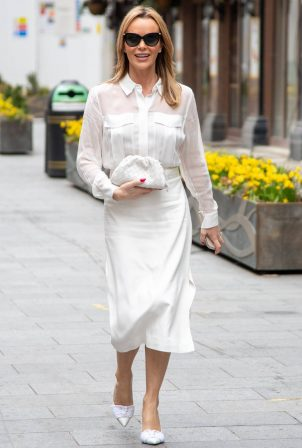 Amanda Holden - In white outfit at the Global Radio Studios in London