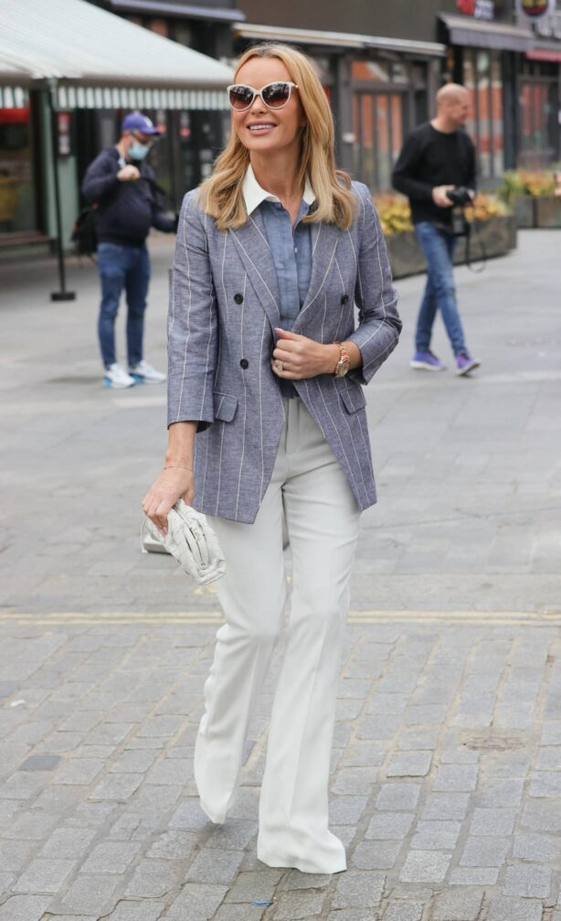 Amanda Holden - In white pants and blazer at Heart radio studios in London
