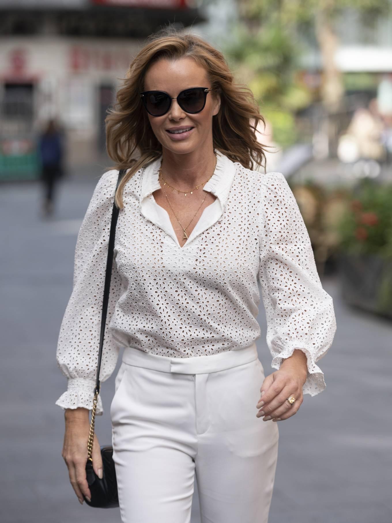 Amanda Holden - In white seen at Heart Radio - London