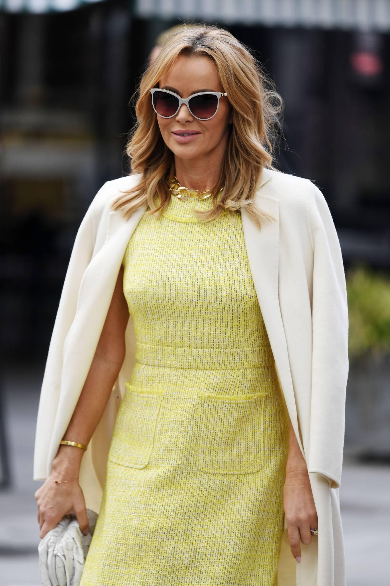 Amanda Holden 2021 : Amanda Holden – In yellow dress and a cream long coat at Heart radio London-06
