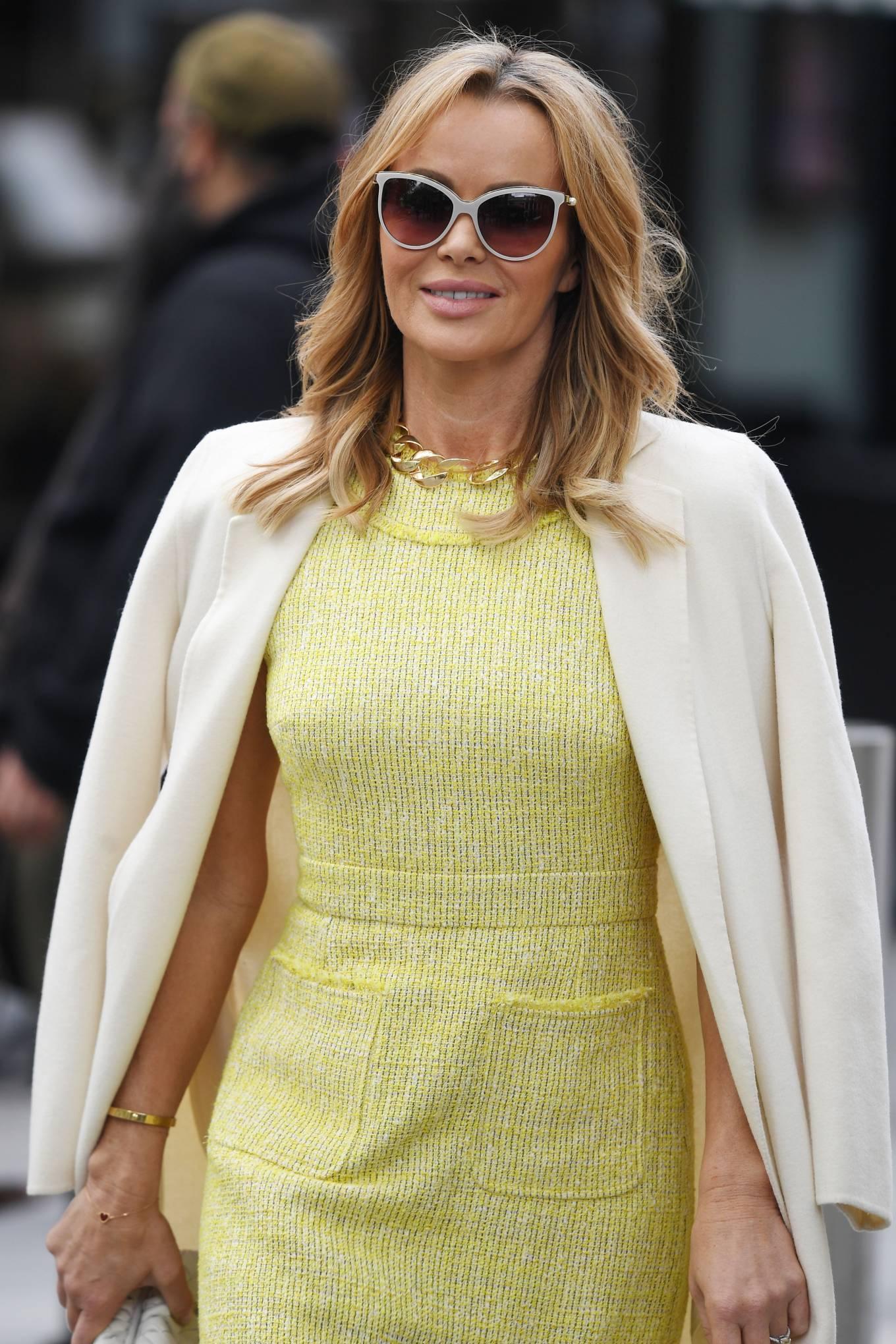 Amanda Holden 2021 : Amanda Holden – In yellow dress and a cream long coat at Heart radio London-09