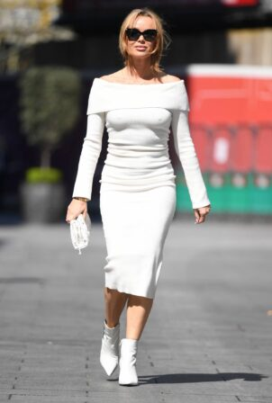 Amanda Holden - looking chic in a white tight dress at Heart radio in London
