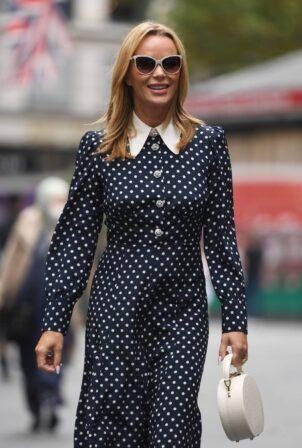 Amanda Holden - Looks chic in a collard polka dot dress at Heart radio in London