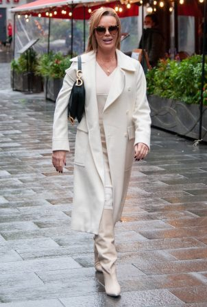 Amanda Holden - Looks chic in a cream dress and coat outside the Global Studios in London