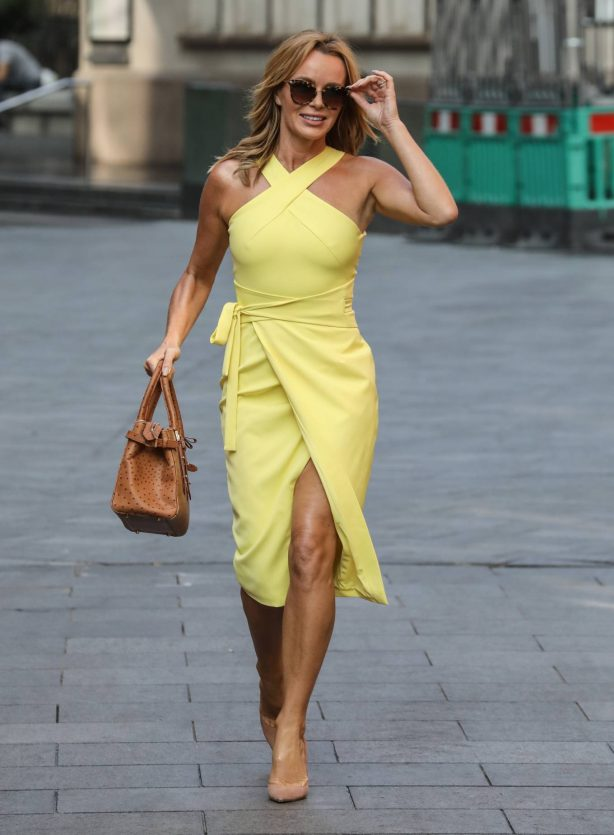 Amanda Holden - Looks radiant in yellow dress at Global Radio Studios in London