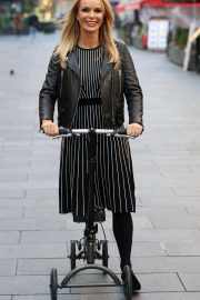 Amanda Holden on her scooter leaving the Heart Radio Studios in London