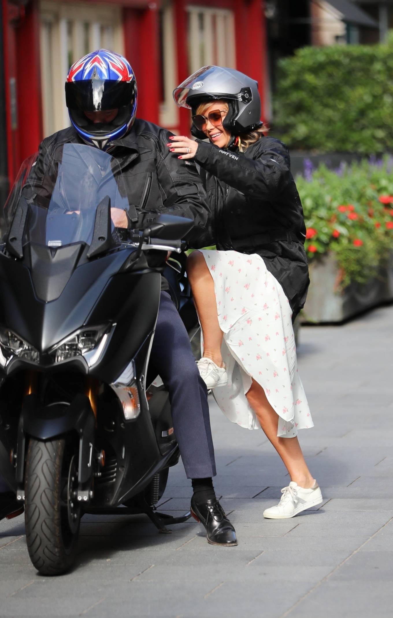 Amanda Holden - On scuter leaving Global Radio in London