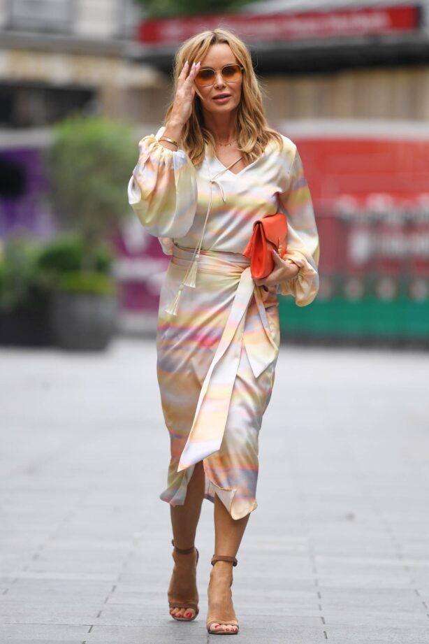 Amanda Holden - Out in wrap dress at Heart radio in London