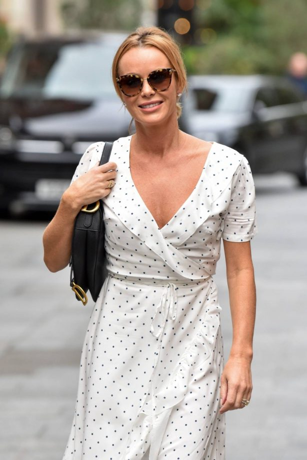 Amanda Holden - Pictured at Heart radio wearing white polka dot dress in London