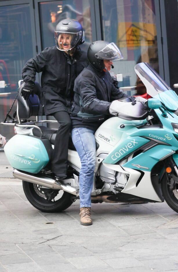 Amanda Holden - Seen at Heart radio on Limo bike in London