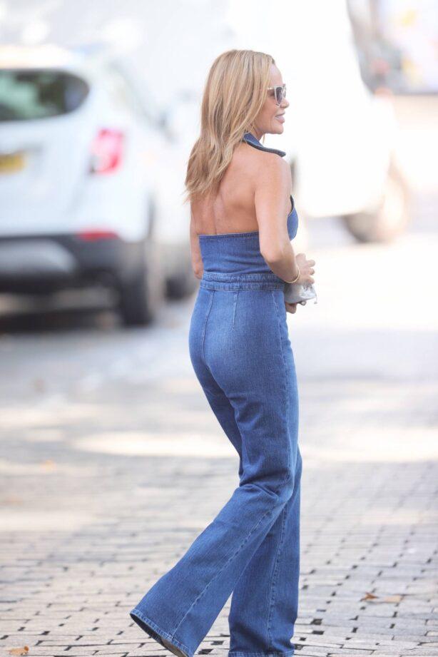 Amanda Holden - Seen in a denim jumpsuit at Heart radio in London