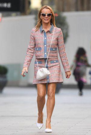 Amanda Holden - Seen in a pink skirt at Heart Radio Studios in London