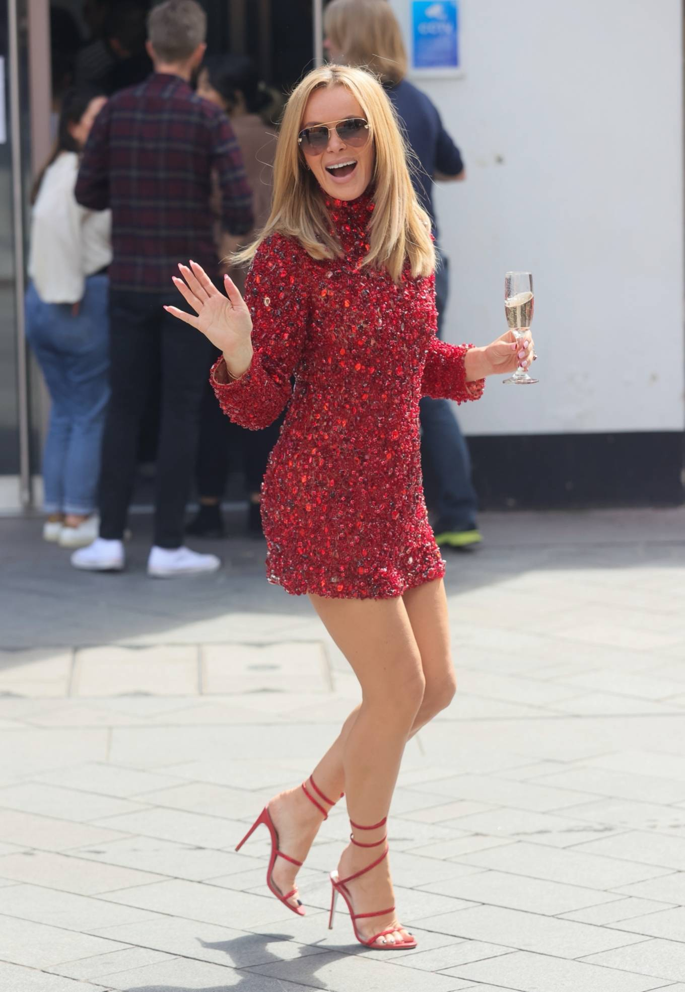 Amanda Holden - Seen in diamond dress for Hearts Make Me a Millionaire competition in London