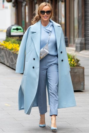 Amanda Holden - Seen leaving Global Studios in all sky blue