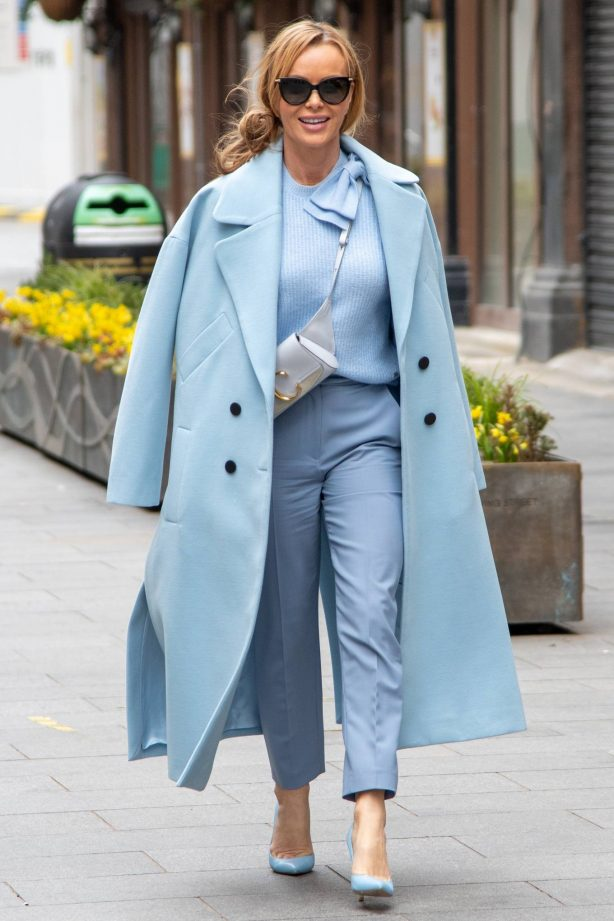 Amanda Holden - Seen leaving Global Studios in all sky blue