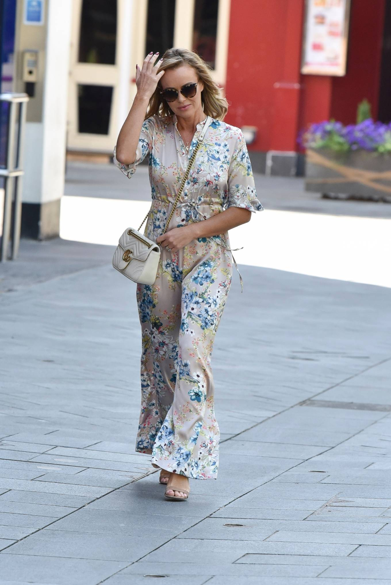 Amanda Holden - Spotted in floral jumpsuit at Global Radio Studios