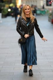 Amanda Holden - Steps out from Heart Radio in London