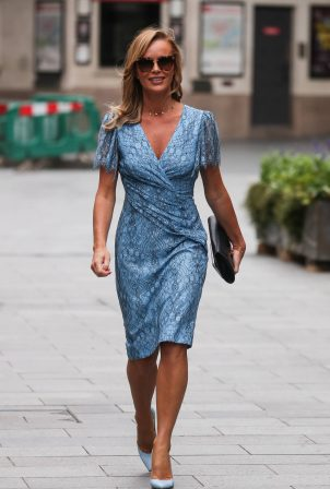Amanda Holden - Wearing a blue summer dress in London