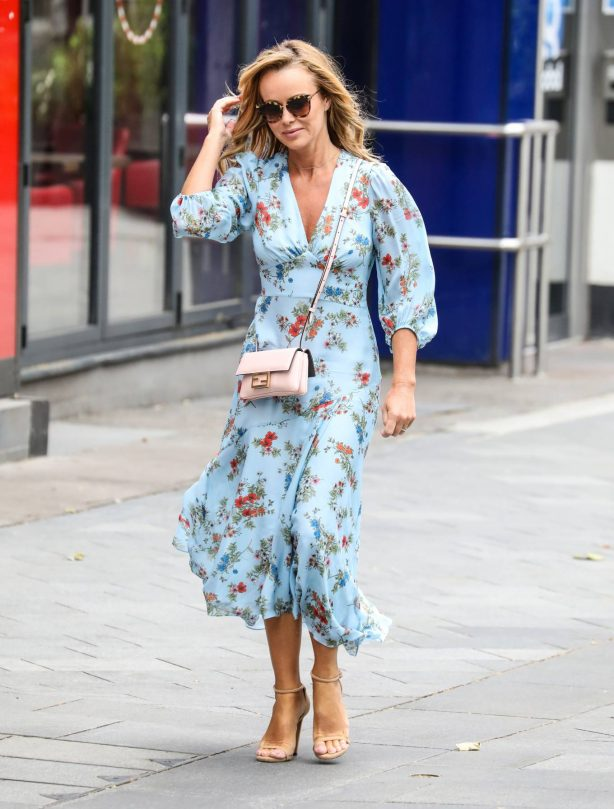 Amanda Holden - Wearing a flower print dress while leaving the Global Radio Studios in London