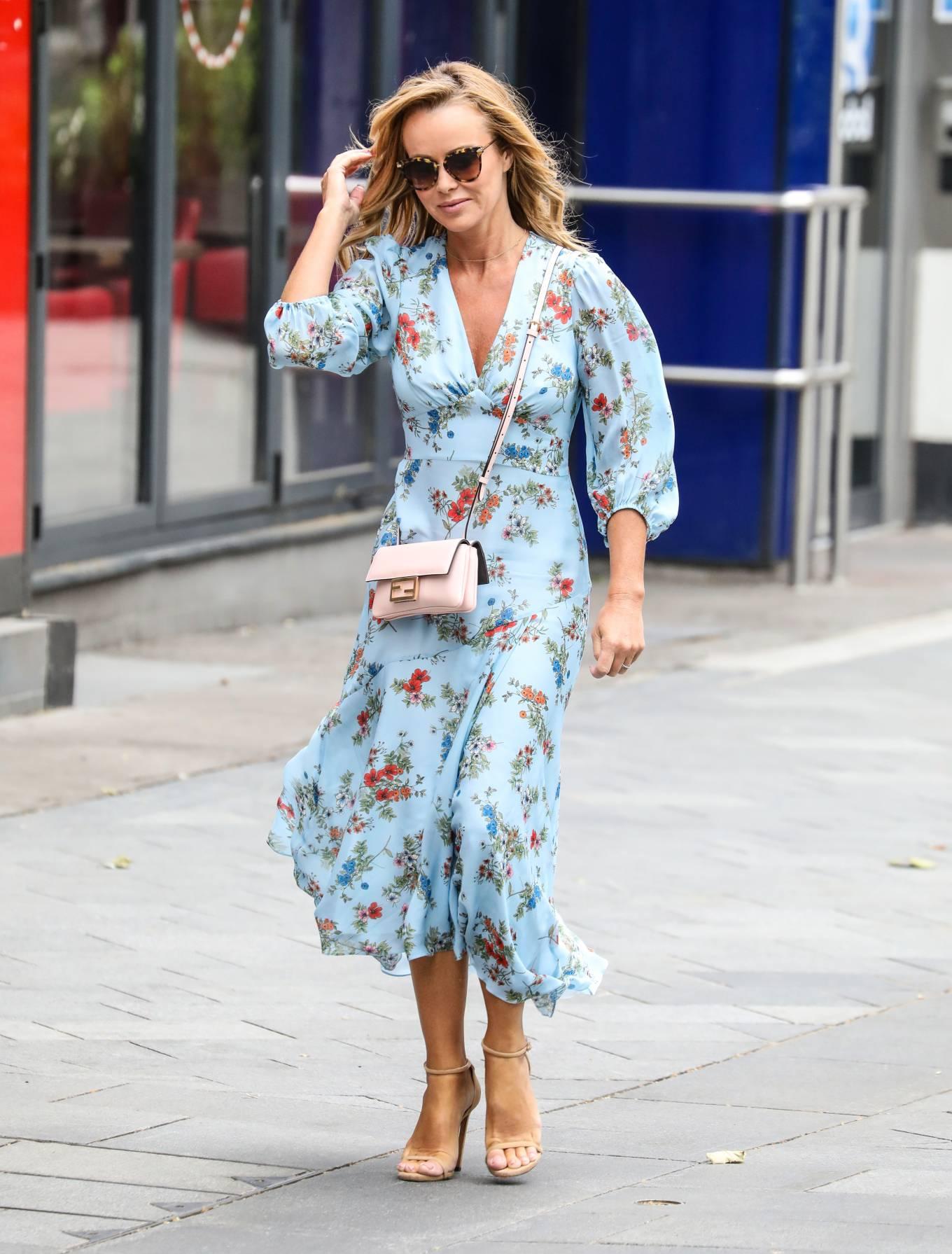 Amanda Holden - Wearing a flower print dress while leaving the Global Radio Studios in London