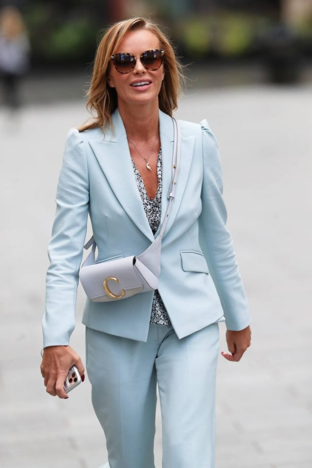 Amanda Holden - Wearing a light blue pantsuit after her Heart radio show in London