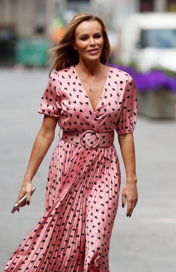 Amanda Holden - Wearing long dress leaving Global Radio in London