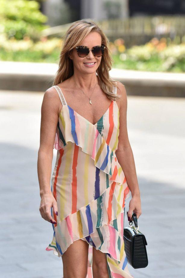 Amanda Holden - Wearing summer dress while leaving Global Studios in London