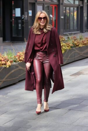 Amanda Holden - Wears leather pants at Heart radio studios in London