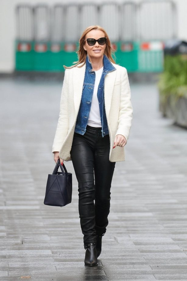 Amanda Holden - Wears leather trousers at Heart radio in London