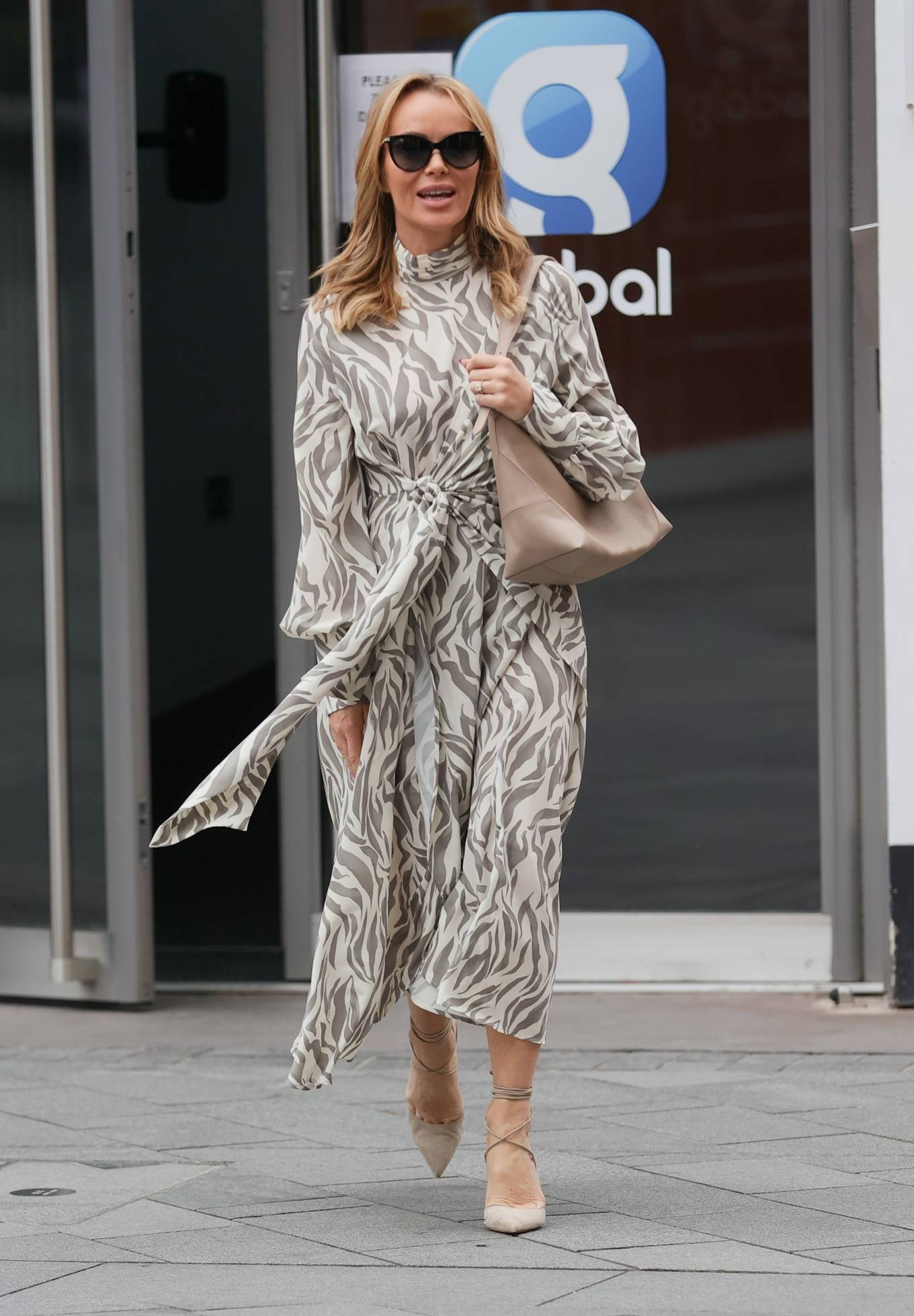 Amanda Holden 2021 : Amanda Holden – Wears monochrome dress at Heart radio in London-01