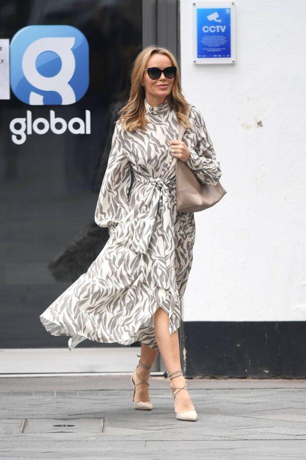 Amanda Holden - Wears monochrome dress at Heart radio in London