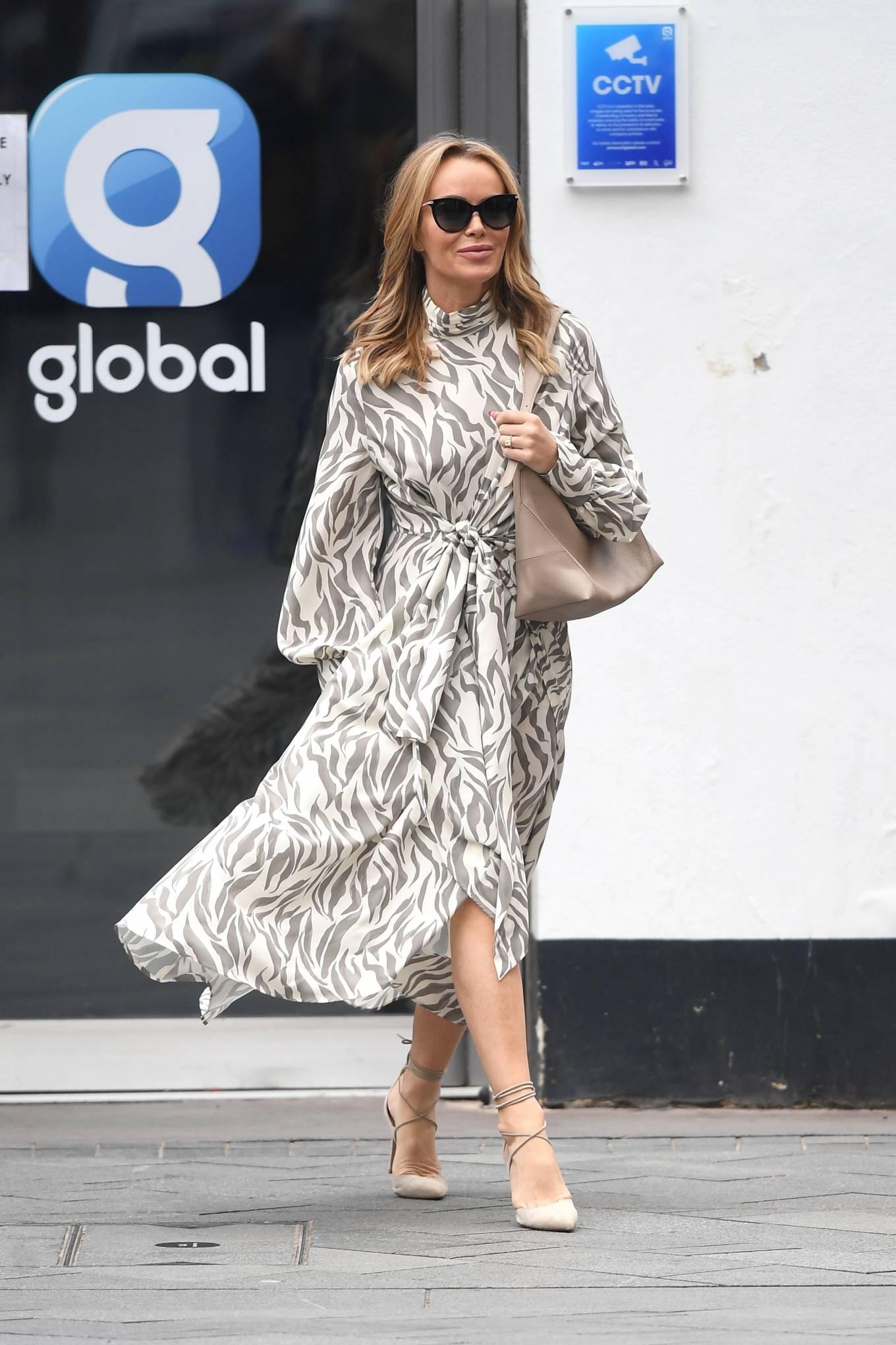 Amanda Holden 2021 : Amanda Holden – Wears monochrome dress at Heart radio in London-02