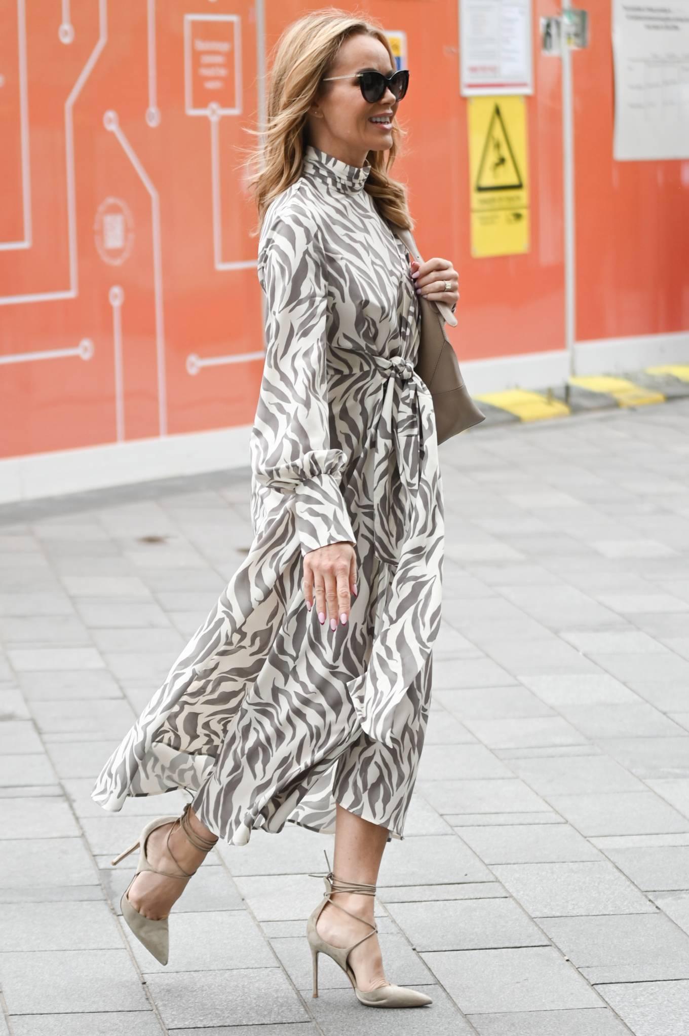 Amanda Holden 2021 : Amanda Holden – Wears monochrome dress at Heart radio in London-04