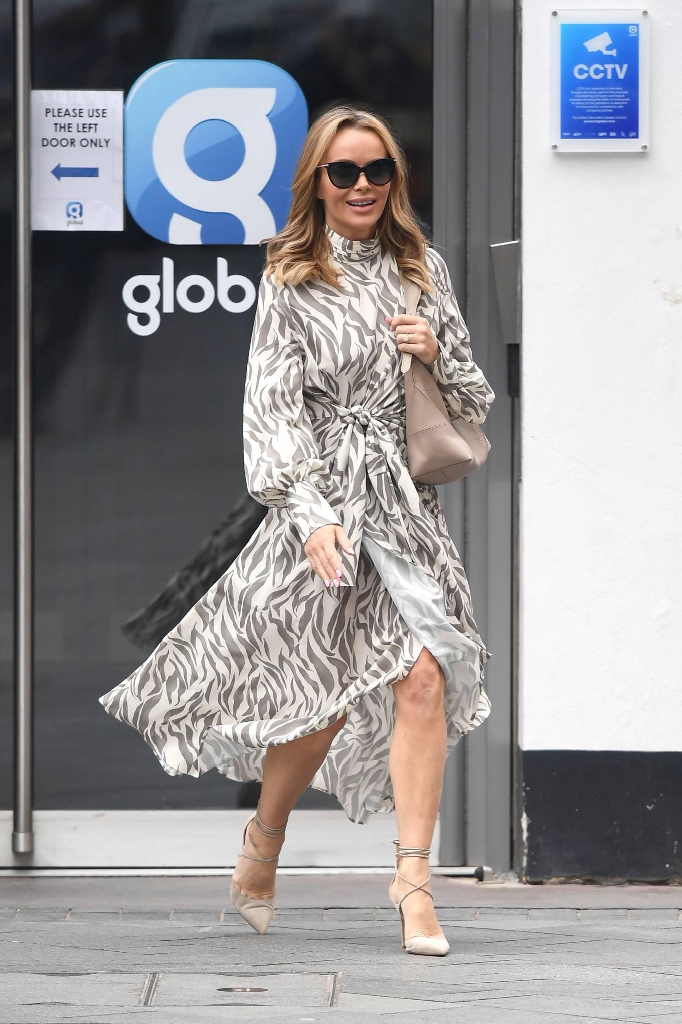 Amanda Holden 2021 : Amanda Holden – Wears monochrome dress at Heart radio in London-05