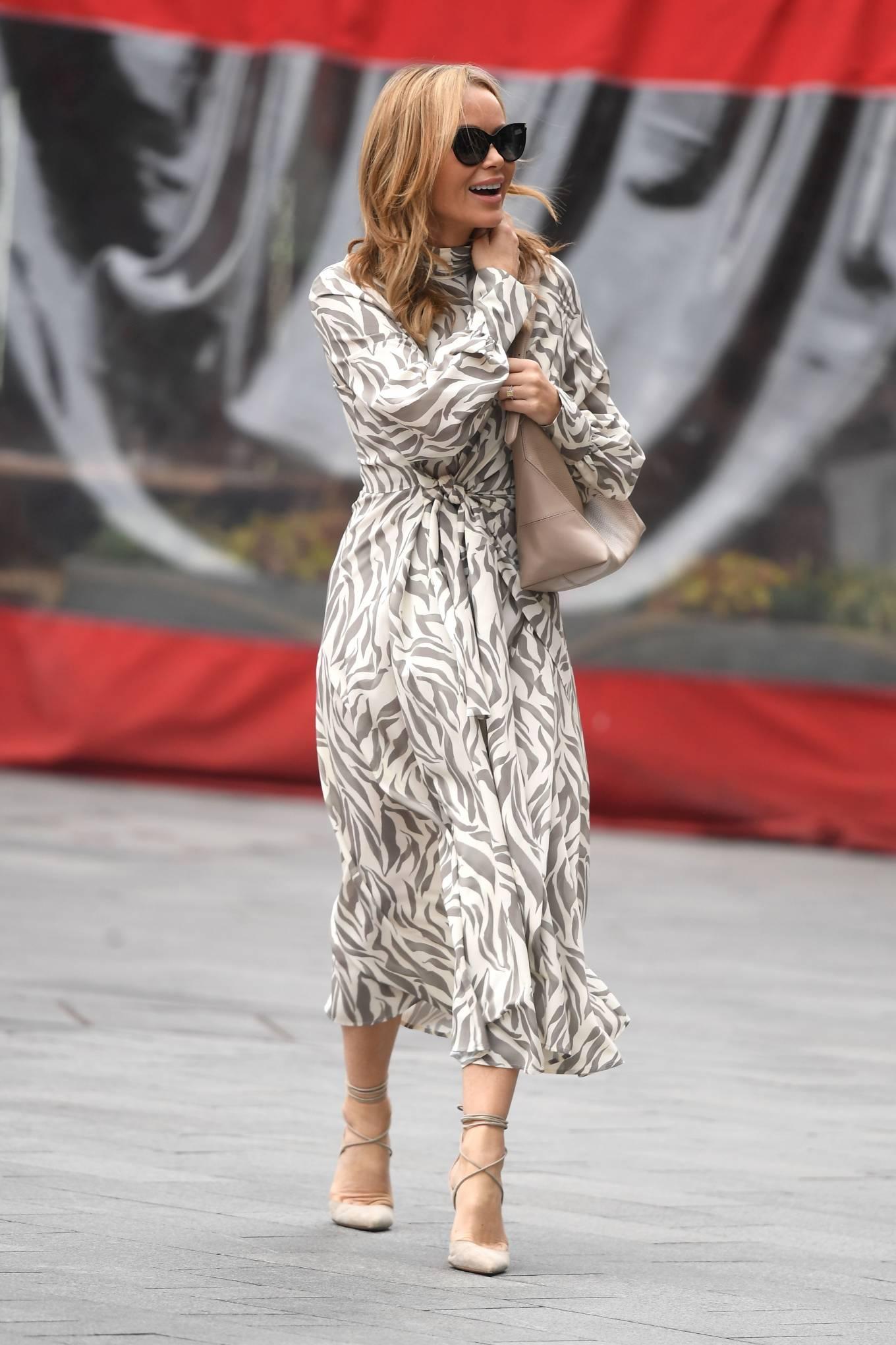 Amanda Holden 2021 : Amanda Holden – Wears monochrome dress at Heart radio in London-07