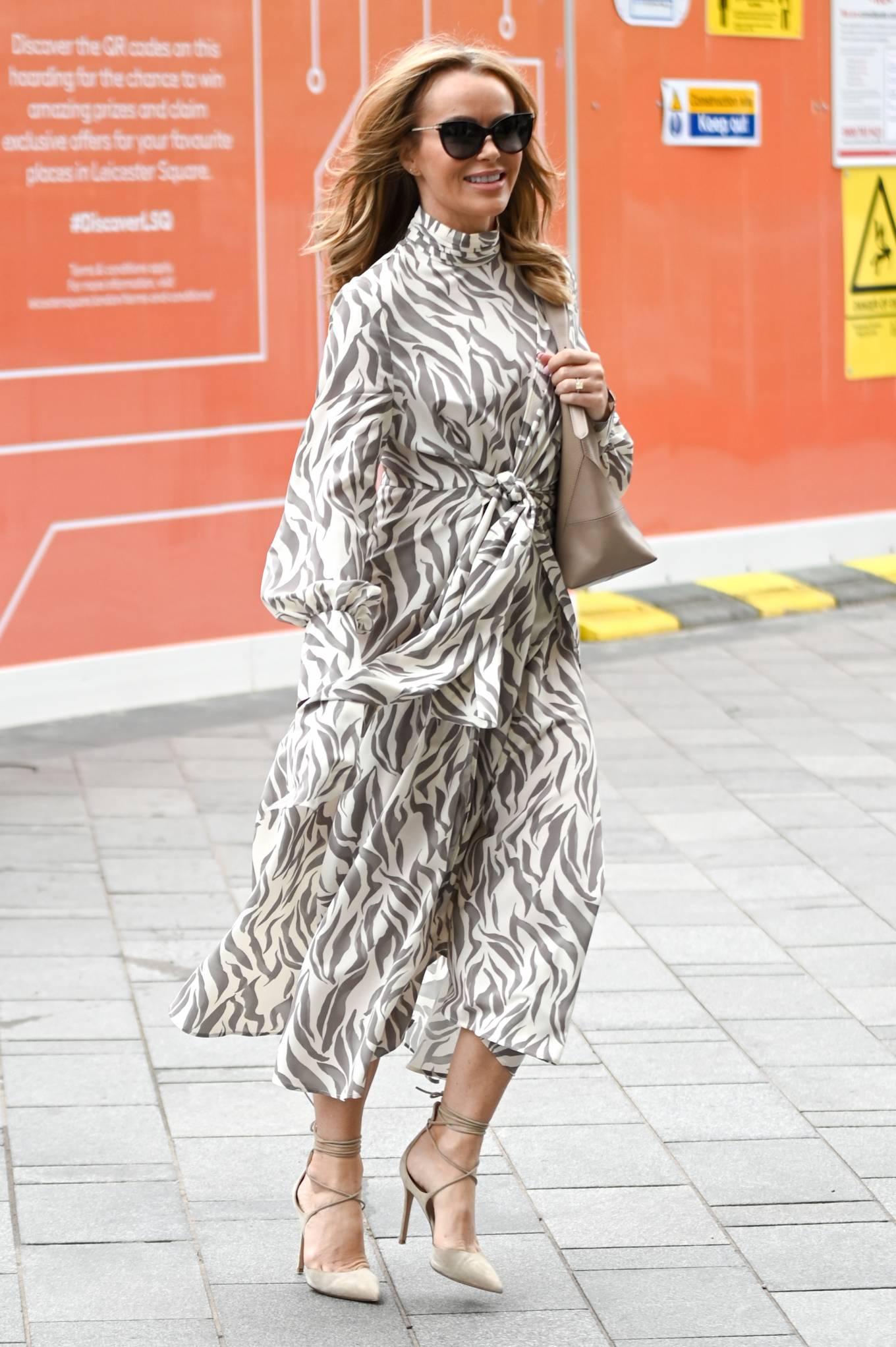 Amanda Holden 2021 : Amanda Holden – Wears monochrome dress at Heart radio in London-08